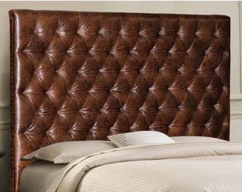 Queen Size Chesterfield Headboard w/ Deep Buttonless, Diamond Tufting & Nailhead trim in Mink color Genuine Leather