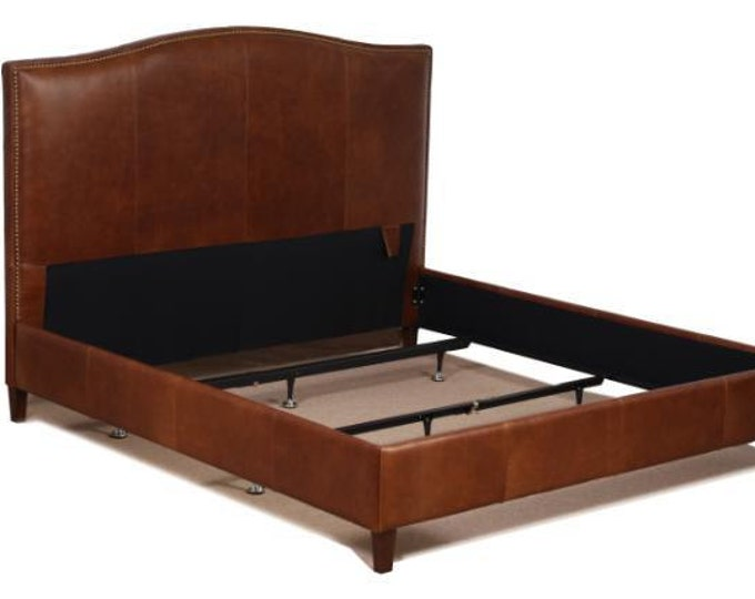 Featured listing image: Queen Size Leather Bed in Tobacco Brown Genuine Leather with Brass Nail Heads