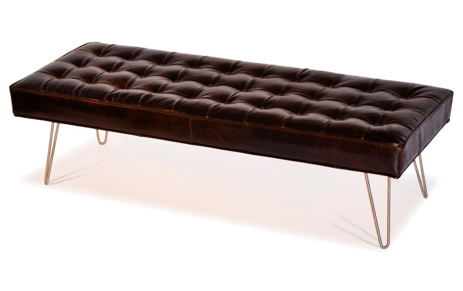 Mid Century Modern Dark Brown Button Tufting Leather Bench Ottoman