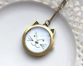 Cat Pocket Watch, Pocketwatch Antique Brass Cat, Vintage Look Clock, Necklace Pocketwatch, Working Watch Cats Pet (PW34)
