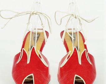 25118d04e8 MAUDE FRIZON vintage 80s Avant Guarde peep toe sandal 6.5 / 7 , Paris