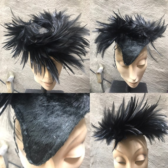 VTG 50s Couture evening black feather hat