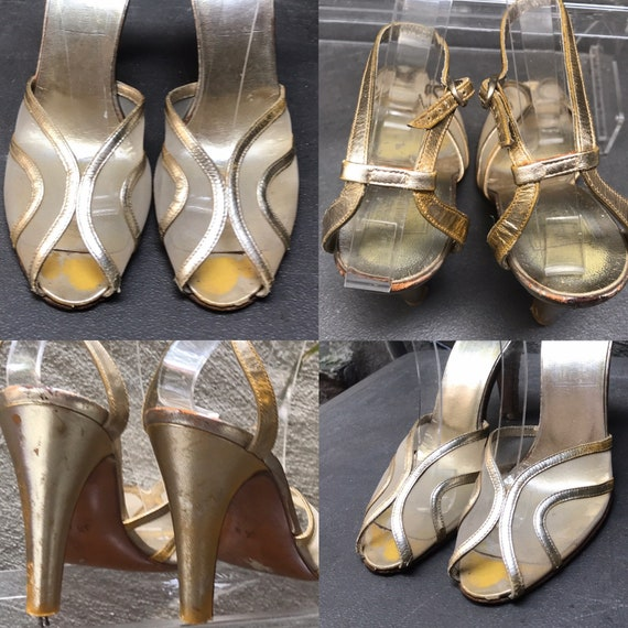 VTG 70s does 30s gold leather ankle strap peep toe