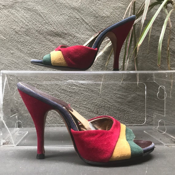 50s VTG springolator red yellow green blue suede h