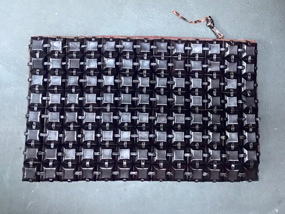 VTG 1940s large clutch plasticflex @ boho brown b… - image 3