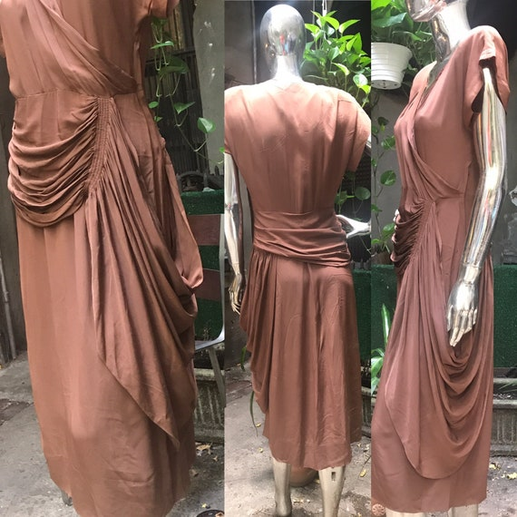 VTG 1940s brown asymmetrical avant-garde dress