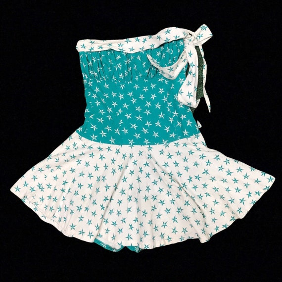 VTG 50s cotton playsuit dress skort onesie swimsui