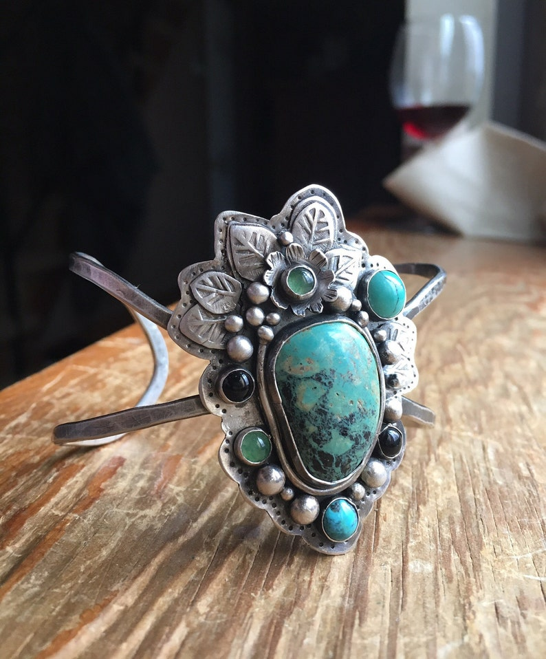 nature inspired Turquoise multi colored floral themed stamped Artisan fine silver textured cuff