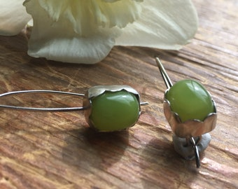 Yummy gummy Kiwi Chalcedony gemstones Minimalist Sterling, latch back drop earrings