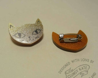 Gold Glitter Cat Acrylic Brooch Pin by Clumsy