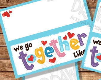 """Wir gehen zusammen wie... Druckbare Tasche Topper Set (3""""/ 4""""/ 5""""breit und kleine Tag) beinhaltet PYO Version - PR7-WGTSET"""