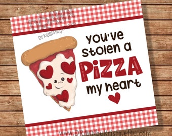 """Sie haben eine PIZZA mein Herz gestohlen! Valentinstag Tag Größe 3,5 """"x 3.3 Cookie Pizza Box Size - PR8-PIZBOX"""
