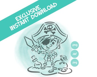 Pirate Boy Stencil -PYO Digital Stencil File- *Personal Use only. NOT for Commercial Use * see listing description