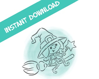 Halloween Witch on Broom- PYO Digital File- Instant Download- *Personal Use only NOT for Commercial Use as of 2020*-