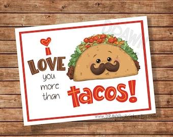 Ich liebe dich mehr als Tacos, Valentine, Lehrer, Geschenkanhänger, Klassenzimmer Geschenkanhänger, Geburtstag, Gunst, anpassbare PR11 TACO