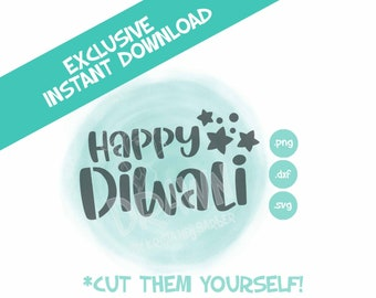 Happy Diwali Stencil- PYO Digital File- Instant Download- *Personal Use only-NOT for Commercial Use*