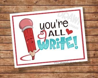 Sie sind alle schreiben, Valentine, Lehrer, Geschenkanhänger, Klassenzimmer Geschenkanhänger, Geburtstag, Gunst, anpassbare PR14 schreiben