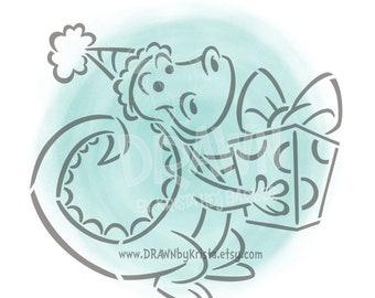 Glücklich Geburtstag Dino - PYO Schablone Datei - persönlichen Gebrauch