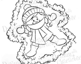 Kid Snow Angel Digital Clip Art/ KopyKake Image