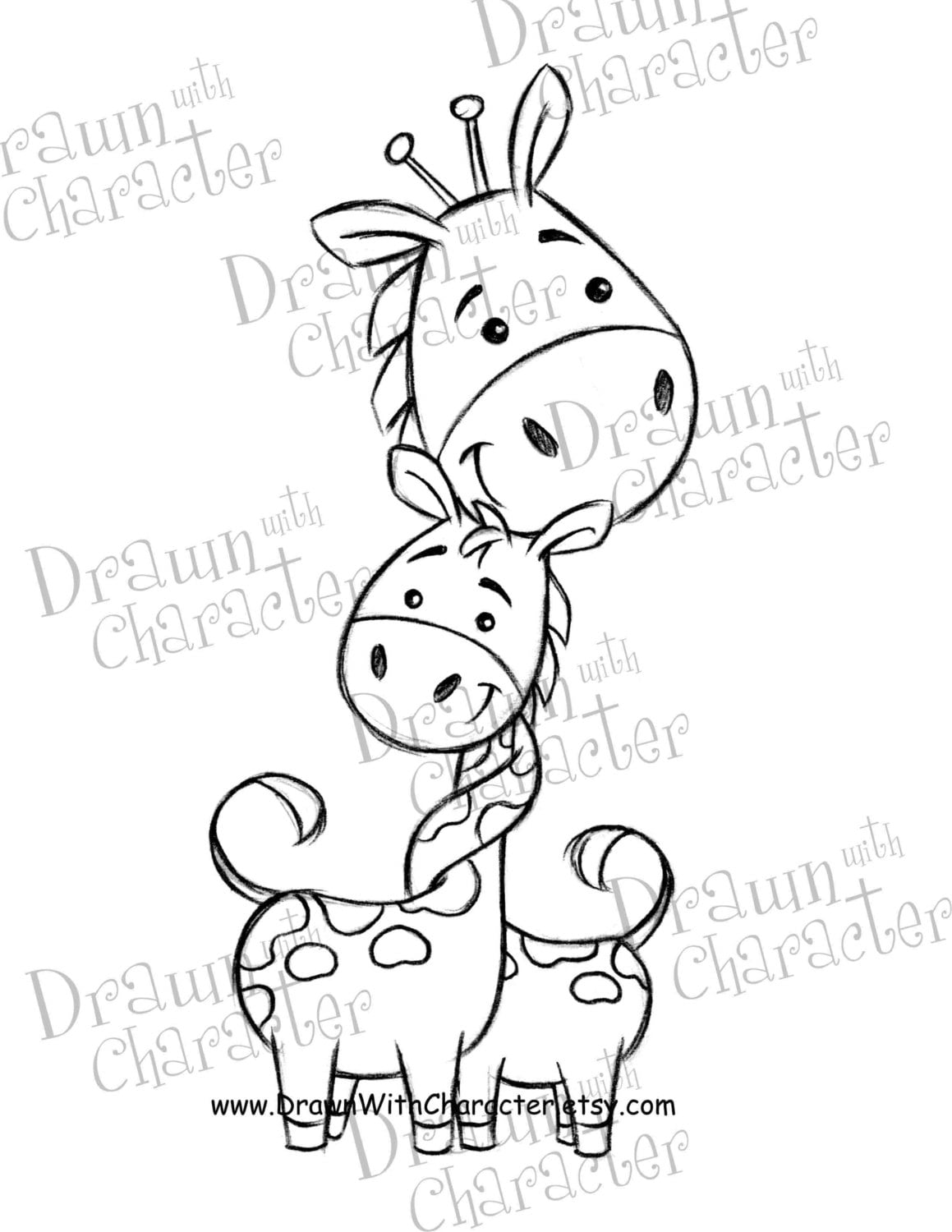Mommy And Baby Giraffe Mother S Day Digital Stamp Etsy