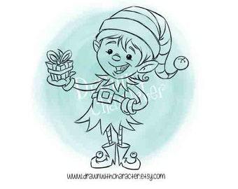 Little Boy Elf Digital Clip Art/ KopyKake Image