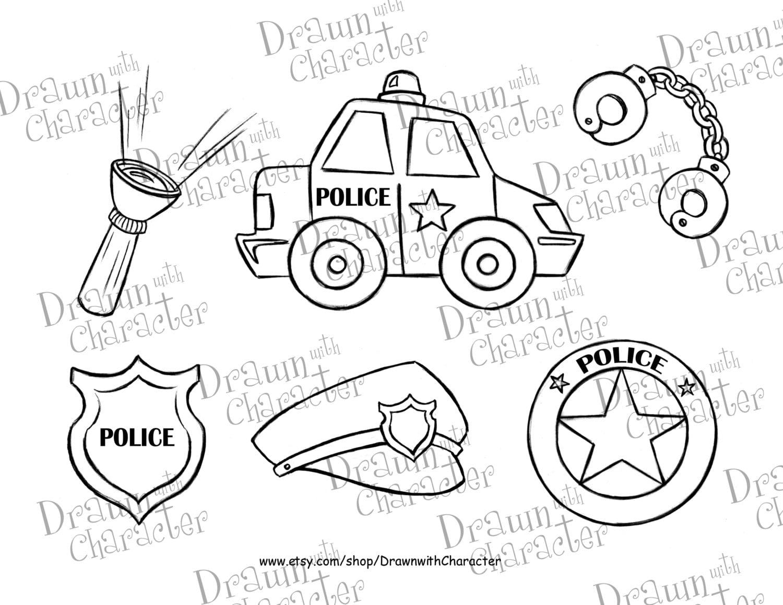 polizei auto set   digital stempel kunst