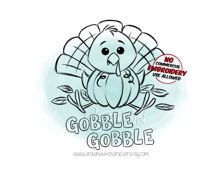 Baby Turkey in a Pumpkin Fall Image Digital Stamp/ KopyKake | Etsy