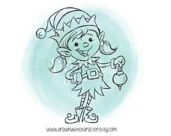 Little Girl Elf Digital Clip Art/ KopyKake Image