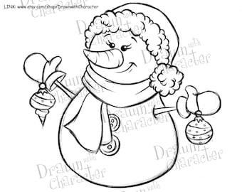 "Snow""Lady"" with Ornaments Digital Clip Art/ KopyKake Image"