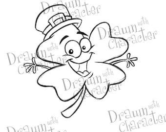 Happy Four Leaf Clover Digital Stamp Art/ KopyKake Image- S26-HPCLOV