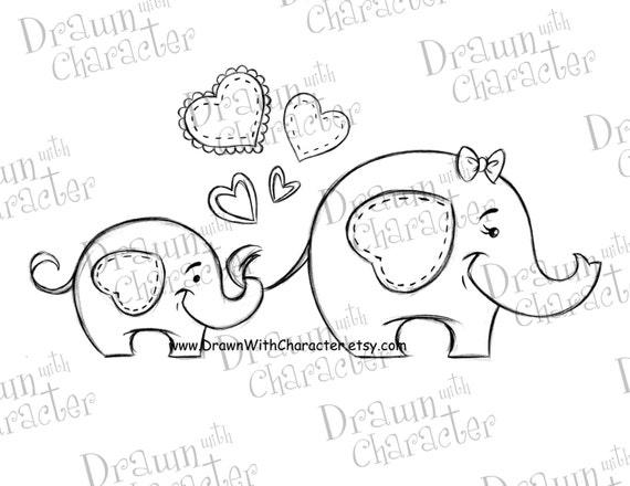 Mama und Baby-Elefanten-Mutter Tag digitaler Stempel / | Etsy