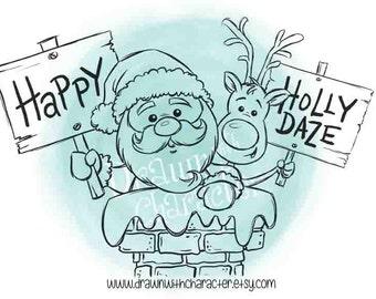 Happy Holly Daze Santa and Rudolph in a Chimney Digital Clip Art/ KopyKake Image