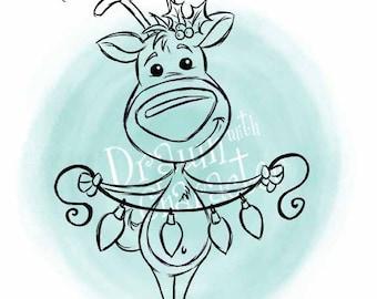 Reindeer with Christmas Lights Digital Clip Art/ KopyKake Image