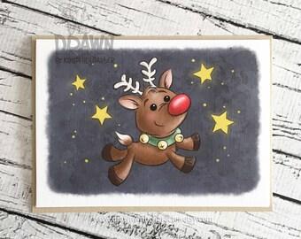 Weihnachten Weihnachtskarten: Rentier in Nacht Himmel (Karte-RUStar2)