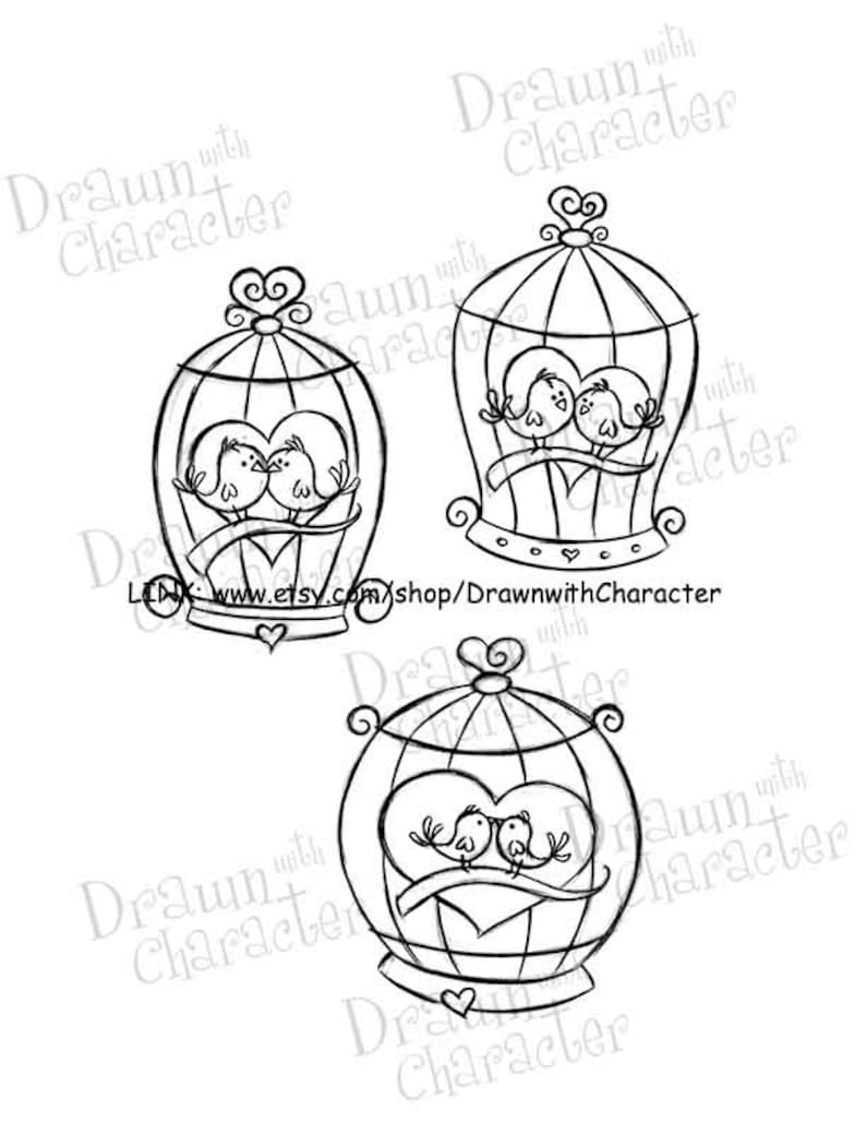 Valentine's Bird Cages Digital Stamp Art/ KopyKake Image- SP58-BIRDCAGES
