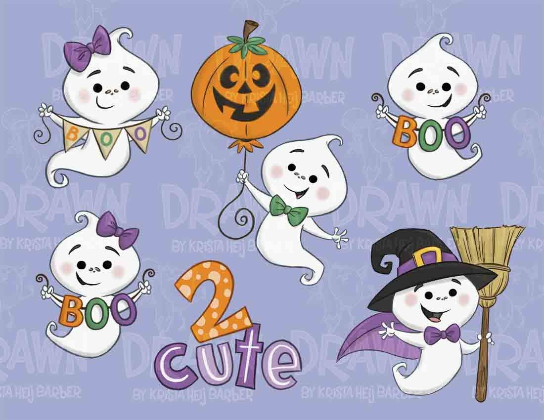 Halloween Cute Ghost Clip Art-Set of 6No Embroidery Use | Etsy