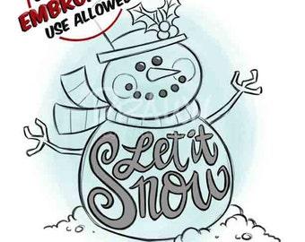 """Snowman """"Let it Snow"""" Digital Clip Art/ KopyKake Image"""