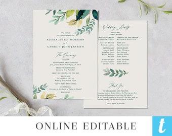 printable wedding program template instant download order of etsy