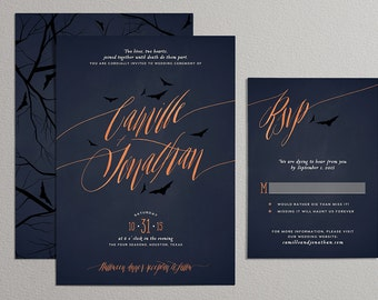halloween wedding invitation etsy