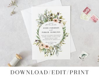 wedding invitation template printable wedding invites etsy