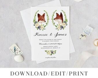 Wedding Invitation Template Printable Invite Instant Download Digital Editable PDF Woodland Animal Boho Fox Couple Fauna Templett