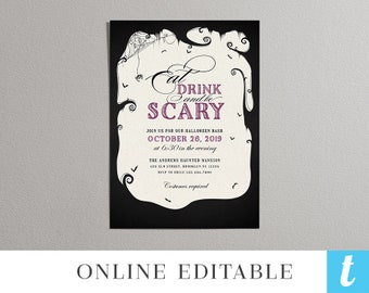 Printable Halloween Invitation Template Kids Halloween Etsy