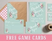 Bridal Shower Invitation, Printable Bridal Shower Invites, DIY Shower Party Pack, Bridal Shower Games Favors Tags, Spring Summer Mint Pink