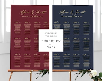 Seating Chart Template Printable Wedding Seat Assignment Plan Instant Download PDF Editable Table Sign Navy Burgundy Gold Alyssa Templett