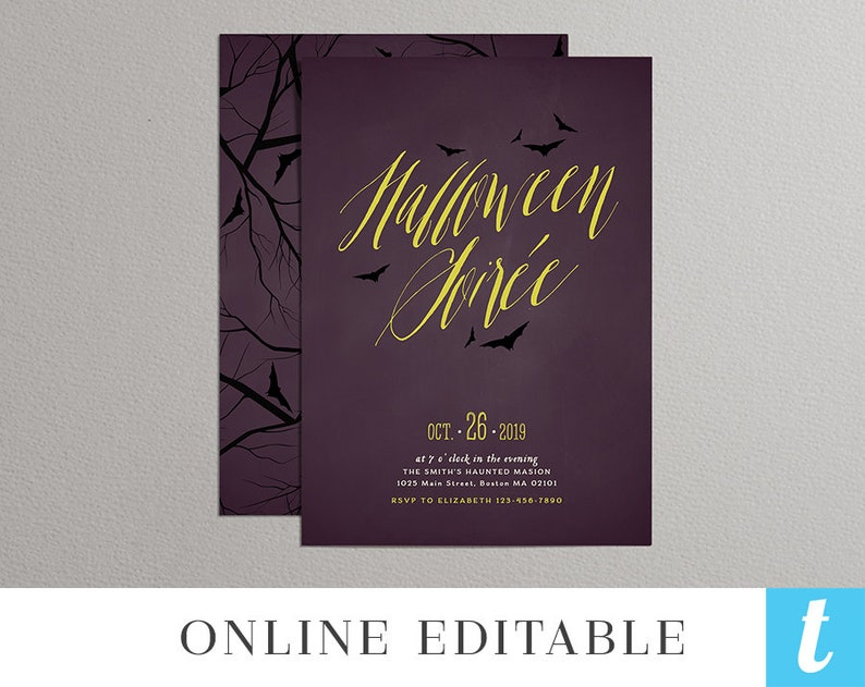 Printable Halloween Invitation Template Adult Party Invite DIY Editable Instant Download Digital Spooky Soiree Purple Bat Templett