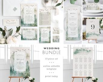 Forest Wedding Invitation Template Bundle Printable Woodland Mountain Suite DIY Digital Instant Download Editable Invite Set Bella Templett