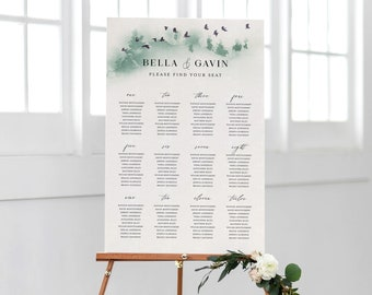 Forest Wedding Seating Chart Template Printable Outdoor Woodland Mountain Table Sign Instant Download Editable Decoration PDF Bella Templett