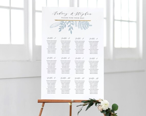 photo relating to Printable Seating Chart identify Printable Seating Chart Template, Marriage ceremony Seating Program Indications Fast Obtain Decorations Do-it-yourself Editable PDF Dusty Blue Gold, Audrey Templett