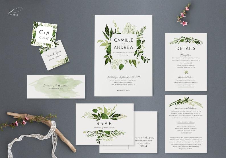 Woodland Botanical Wedding Invitation Template Set Printable Greenery Suite Digital Instant Download Editable Invites Ivy Templett