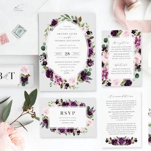 Purple Wedding Invitation Template Printable Plum Blush Floral Wreath Digital Instant Download Editable Pink Green Invites Brooke Templett